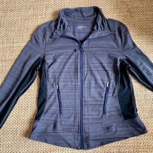 Zella Yoga Activewear Jacket Grey Black w Mesh XL